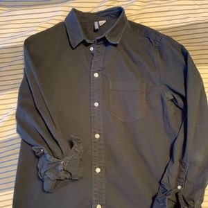 H&M Divided Mens Black Thick Button Down Shirt.